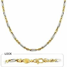 14K Solid White & Yellow Gold Italy Men/Women Figarope Chain Necklace  3mm