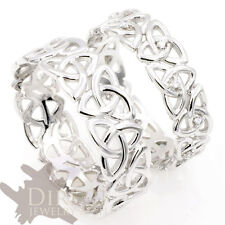 18ct White GOLD GENUINE DIAMOND Celtic Trinity Knot HIS/HER Wedding Band Ring