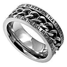 Isaiah 54:17 Ring & Armor of God Christian Bible Verse, Stainless Steel Spinner
