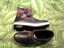New Box UGG Marrais Black Plaid Leather & Synthetic Waterproof Boots Womens 6