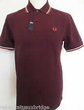 FRED PERRY T-Shirt Men's Twin Tipped Pique Polo Regular Fit M1200 Maroon Small