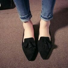 Ladies Retro Tassel Flat Casual Pointed Toe Oxford Loafers Moccasins Shoes Free