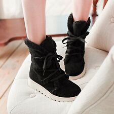 Women's Flat Lace Up Fur Lined Casual Winter Martin Boots Snow Ankle Boots