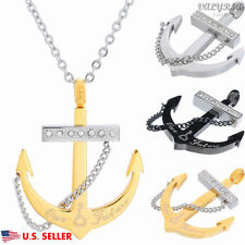 VALYRIA Men's Women's 316L Stainless Steel Cross Anchor Pendant Necklace 22''