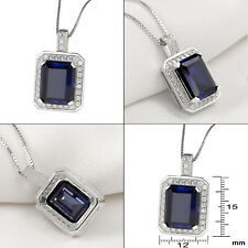Emerald Cut Blue Sapphire White Topaz 925 Sterling Silver Pendant Chain Necklace