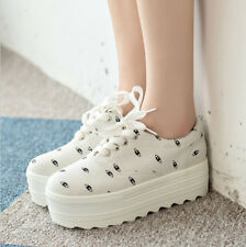 Womens New High Heel Creeper Platform Lace Up Fashion Sneaker College Shoes Size