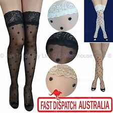 Costume Polka Dot Sheer Sexy Stay up Floral Lace Top Thigh High Highs Stockings