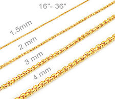 18K Gold Plated Mens Womens Stainless Steel Round Box Chains Necklaces Fast Ship