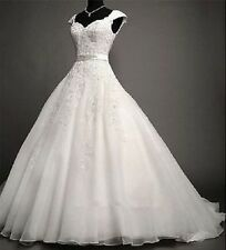 New White/Ivory Lace Bridal Gown Wedding Dress Custom Size:6 8 10 12 14 16 18+