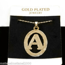 Exclusive! 24k Gold Plated Initial Pendant Necklace Personalized Oval Charm