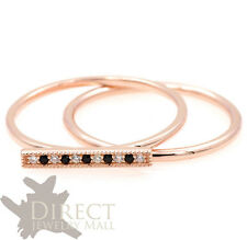 9ct Rose GOLD Created Diamond Spinel Line Ring & Skinny Stacking Ring Full Size