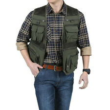 Men Waistcoat Outdoor Travel Vest Jacket Fishing Photography Field Multi Pockets