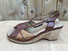 Womens Clarks Brown Leather Peeptoe Ankle Strap Sandals- UK 6 EU 39 G/Cond