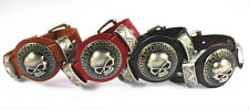 1pcs Genuine Leather Bracelet Men Cuff Skull Bracelet& Bangles Wristband SLS047