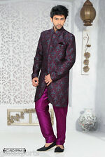 Indian Mens Ethnic Wear Indo Western Purple Color Wedding Dress From India
