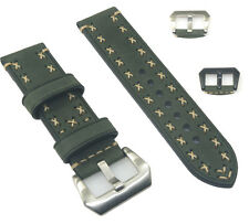Vintage Green Cowhide Leather Watch Band Strap Hand Stitched 20 22 24 26mm