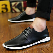 Mens Casual Genuine Leather Oxfords Lace Up Loafers Moccasin Driving Shoes