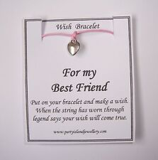 FOR MY BEST FRIEND Heart  Charm Wish Bracelet on Message Card Choose Colour