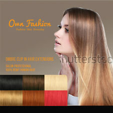 Dip Dye Ombre Human Hair Clip in Hair Extensions Full Head & Half Head