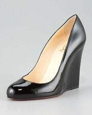 New Christian Louboutin Ron Ron Zeppa 100 Wedge Heels Black Patent Shoes 38 40.5