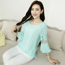 Women Casual Chiffon Lace Blouse Short Sleeve Shirt T-shirt Summer TEE Tops S-XL
