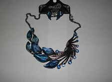 BEAUTIFUL  PEACOCK  FEATHER   RHINESTONE  ENAMEL  NECKLACE  AND  EARRINGS