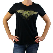 Women's Steampunk Heart w/ Wings Black Round Neck Tee Shirt Short Sleeve PLB020