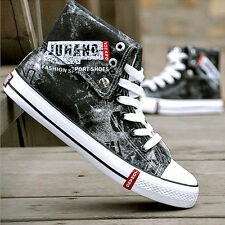 Mens Canvas Cowboy Graffiti High Top Lace Up Trainers Sneakers Sports Shoes