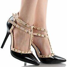 New  Women Strappy Rock Studded Ankle Strap Heels Fashion Shoes  Sexy High Heels
