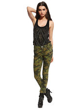 Womens Skinny Camo Jeans Military Low Rise Camouflage Hotpants Army Pants Green