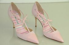 $865 New Manolo Blahnik PARIGATAMA Pink Suede Leather Bow Ankle Strap Shoes 40