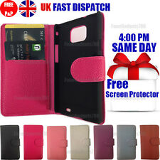 FLIP WALLET LEATHER CASE COVER & FREE SCREEN PROTECTOR FOR SAMSUNG S2 I9100