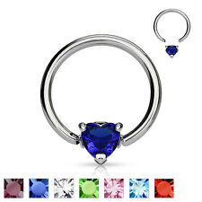 14G 1/2'' Surgical Steel Solitaire Heart with CZ Gem Stone Captive Bead Ring