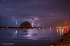 Photograph of Morro Bay, CA Iconic Rock in Lightning Storm of July 18, 2015