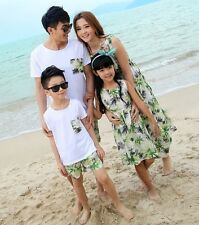 New Summer Family clothes holiday mother girls Green long Dress father boys sets