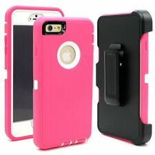 Defender Protective Case Pink White w/Clip & Protector For iPhone 6 / 6 Plus