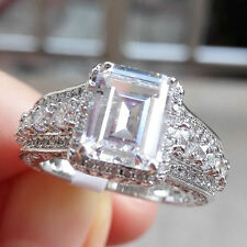 Women's CZ 925 Sterling Silver White Gold Plated Engagement Ring Gemstone Sz 6-9