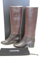 $1695 NEW CHANEL Bordeaux Brown Leather Quilted High BOOTS SHOES CC logo 37 38