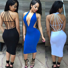 New Sexy Women Deep V-Neck Bodycon Backless Summer Clubwear Party Cocktail Dress