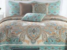 Cynthia Rowley Bohemian Blue Brown Paisley Quilt Standard Pillow Shams NWT
