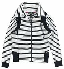 RALPH LAUREN Active Women's White Navy Striped Funnel Neck Jacket M L NWT