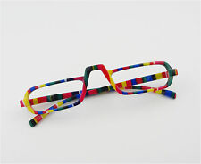 EGO Unisex Style Design Reading Glasses Rainbow Stripe Amber Nerd Spring Hinge