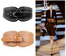 Women Wide Faux Leather Elastic Stretch Cinch Corset Waistband Waist Belt