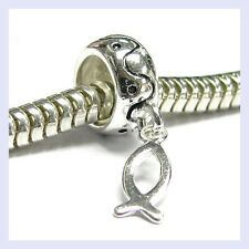Sterling Silver Christian Fish Dangle Ichthys Bead for European Charm Bracelet