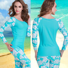 New Women  Long Sleeve Rash guards Sun Shirts UV Surf Swim Top Lycra Swimwear