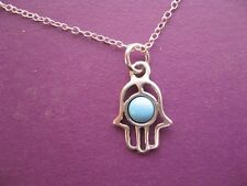 Turquoise Hamsa Necklace on 925 Sterling Silver Chain, Blue Hand Simple Charm