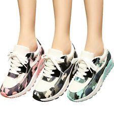 Simple Womens Mesh Camouflage Sports Shoes Lace Up Breathable Running Sneakers