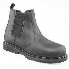 Mens Gents New Black leather Safety Toe Cap Chelsea Pull On Boot 3 - 14