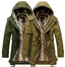 Mens Winter Cotton Thick Jacket Hooded Casual Fur Lining Military Parka Coats W8