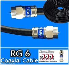 RG6 PCT F 0.5 - 75 Ft Black Coaxial Coax Cable Wire Satellite HD Antenna TV new